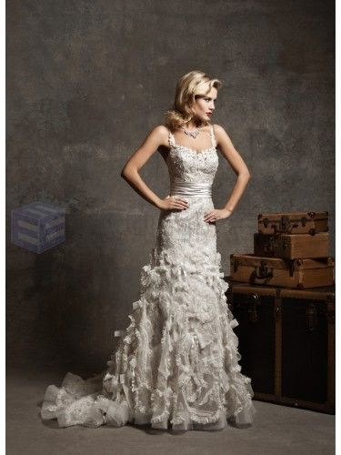Regal Satin Mermaid Spaghetti Straps Sweetheart Neckline Wedding Dress