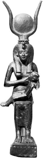 Isis with her son Horus, bronze figurine of the Late Period (Sun disc on top of head); in the Egyptian Museum, Berlin.