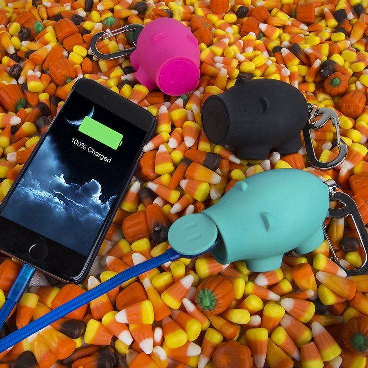 Candycorn Halloween fun with the cute Chubs piggy portable phone charger