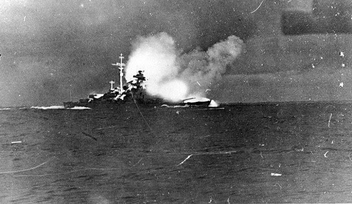 Bismarck firing on Hood and Prince of Wales, Battle of Denmark Strait, 24 May 1941. Photographed from Prinz Eugen. http://wrhstol.com/2ntkyFa