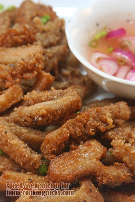Speedy discovers the most unusual recipes. Ironically, the ones he finds are recipes I won't even give a second thought to. Then, they turn out to be so delicious (like that butter-marinated tripe) and I start asking myself why I didn't discover them in the first place. So, here's another tripe recipe. Deep-fried. Served with …