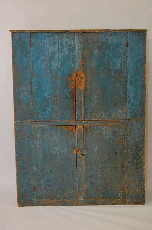 19thC Painted Primitive Cupboard.