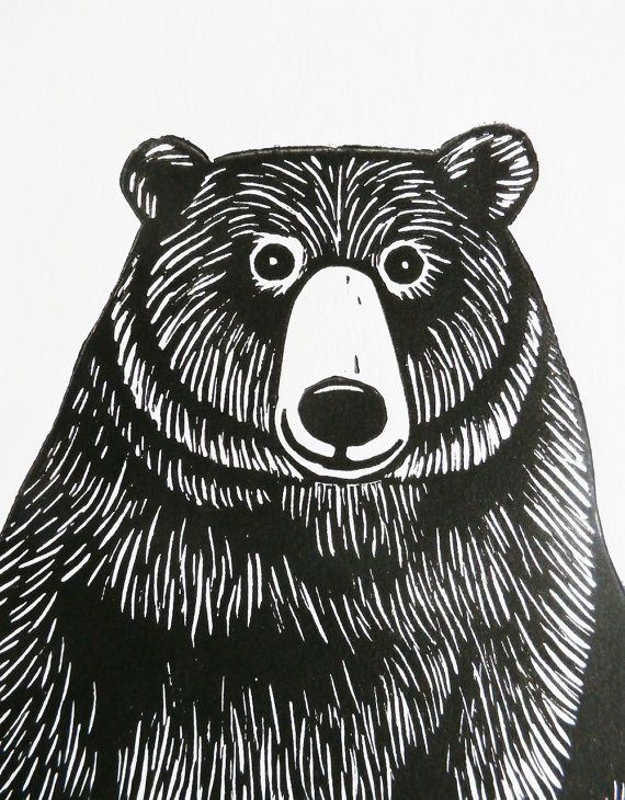 Bear Original Linocut Print Signed Limited Edition by KatLendacka