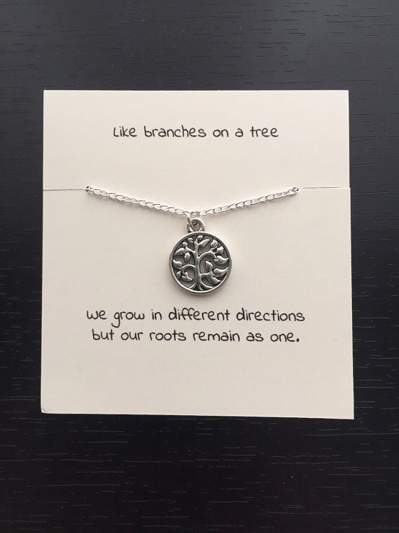 Tree Of Life Necklace Silver Family Jewelry Pendant Gift For Mum Sister Metal Stamping