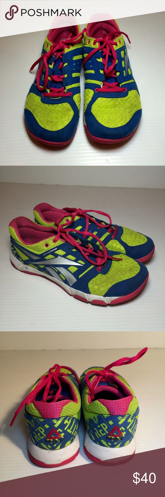 Reebok Knit Neon Running Shoes Great condition!  Lime, bright blue and bright pink.  Size 8. No trades. Reebok Shoes Sneakers