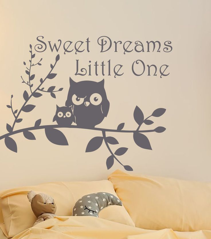 Sweet Dreams Wall Decal Baby Nursery Wall Decal Quote Owl Baby Nursery MN1029 #DecalHouse