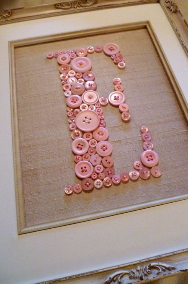 DIY Wall Letters and Word Signs - Button Letters - Initials Wall Art for Creative Home Decor Ideas - Cool Architectural Letter Projects and Wall Art Tutorials for Living Room Decor, Bedroom Ideas. Girl or Boy Nursery. Paint, Glitter, String Art, Easy Cardboard and Rustic Wooden Ideas - DIY Projects and Crafts by DIY JOY http://diyjoy.com/diy-letter-word-signs