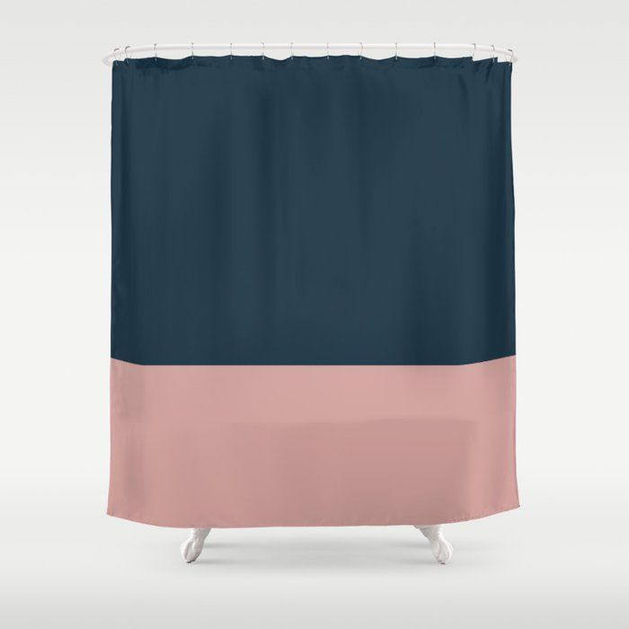 Navy Blue And Blush Pink Solid Color Block Shower Curtain By