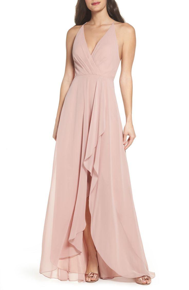 Women's Jenny Yoo Farrah Ruffle Chiffon Gown, Size 16 – Pink
