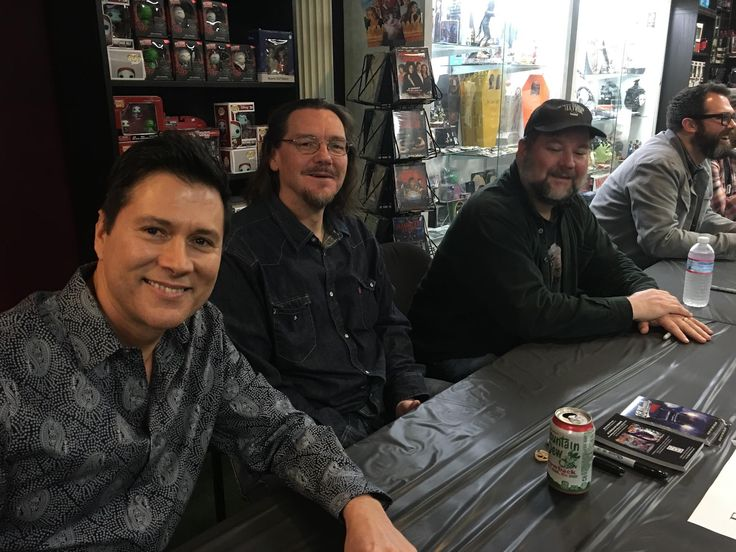 Taylor Grant, Eric Miller and Kevin Wetmore signing copies of Horror 201: The Silver Scream at Dark Delicacies.
