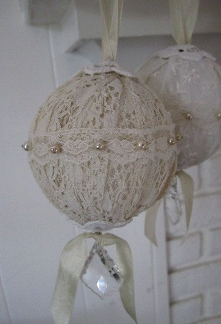 Shabby Chic Vintage Lace Ornaments Set of Six