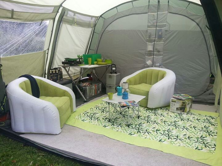 Hah! This is totally genius... blow up camping furniture for a little Glamping…