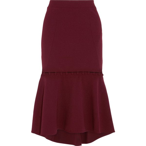 207d07c75b Rebecca Vallance Cortona fluted crepe midi skirt (£270) ❤ liked on Polyvore  featuring skirts, burgundy, midi skirt, midi flare skirt, formal skirts,  flared ...