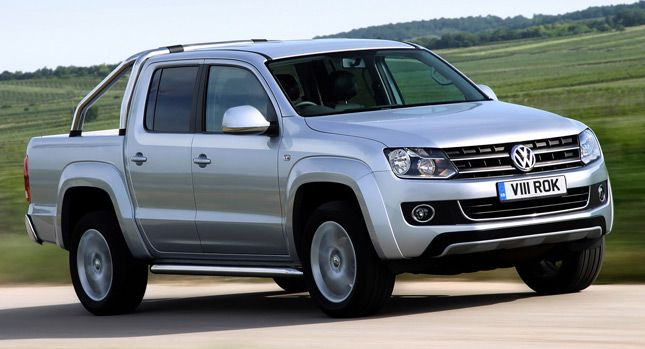 VW Introduces 2013 Amarok with More Powerful 2.0L BiTDI and Available BlueMotion Tech in the UK - Carscoop - [ ...revised 2.0-liter BiTDI delivering 178hp (180PS), up from 161hp (163PS), which can be now linked to an optional, new 8-speed automatic... increased towing limits from 2,800 kg (6,173 lbs) to 3,000 kg (6,614 lbs) for manual models and to 3,200 kg (7,055 lbs) for the 8-speed automatic variants.£31,098]
