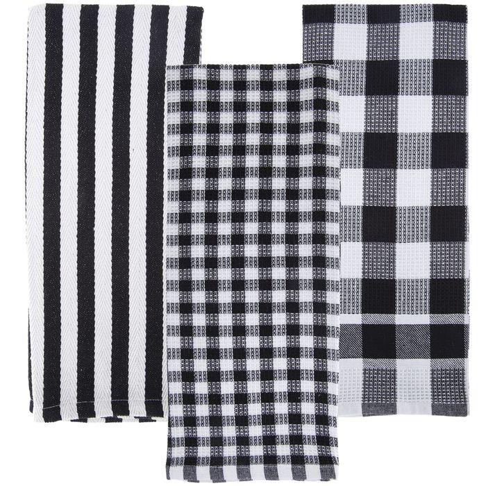 Black White Kitchen Towels In 2020 Kitchen Towels White