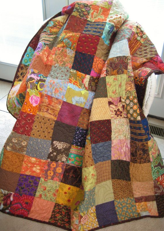 Patchwork Quilt Large Throw Size Lap Quilt Scrappy by ...