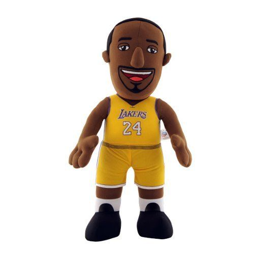 "NBA Los Angeles Lakers Kobe Bryant 14-Inch Plush Doll by Bleacher Creatures. $19.95. Contains One 14-Inch Player Plush. Made of 100% Polyester Fiber. Made in China. Measures 14"" in Height. 100% Polyester. Recommended ages 3 and up. Bring your child's favorite NBA player home!  This Kobe Bryant plush doll is the perfect toy for your young fan.  Bleacher Creatures takes your favorite Lakers player and transforms him into a lovable character to play with - encouraging fun, inspirati..."