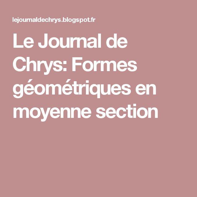 Le Journal de Chrys: Formes géométriques en moyenne section