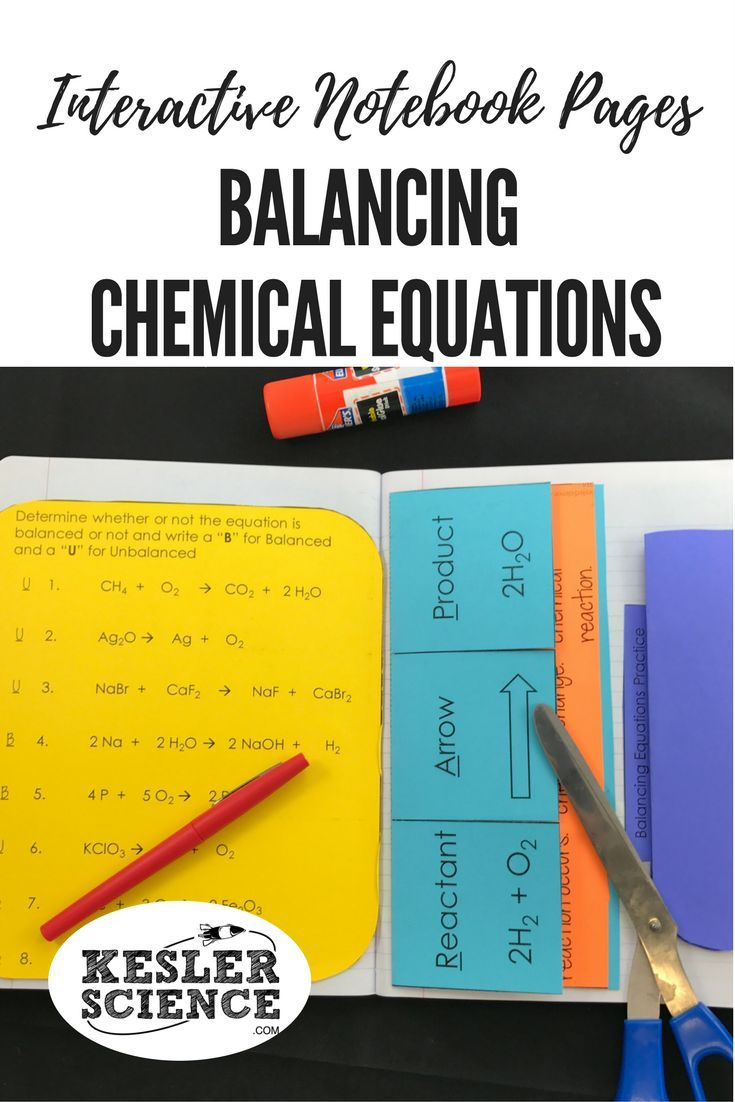 Remember the definitions of reactant and product with this chemical equations foldable. Practice balancing chemical equations with this accordion worksheet. Perfect for taking notes during a chemistry lesson or introductory class. Turn science notebooks into a fun, interactive, hands-on learning experience for your middle school or high school students! Grades 5th 6th 7th 8th 9th 10th