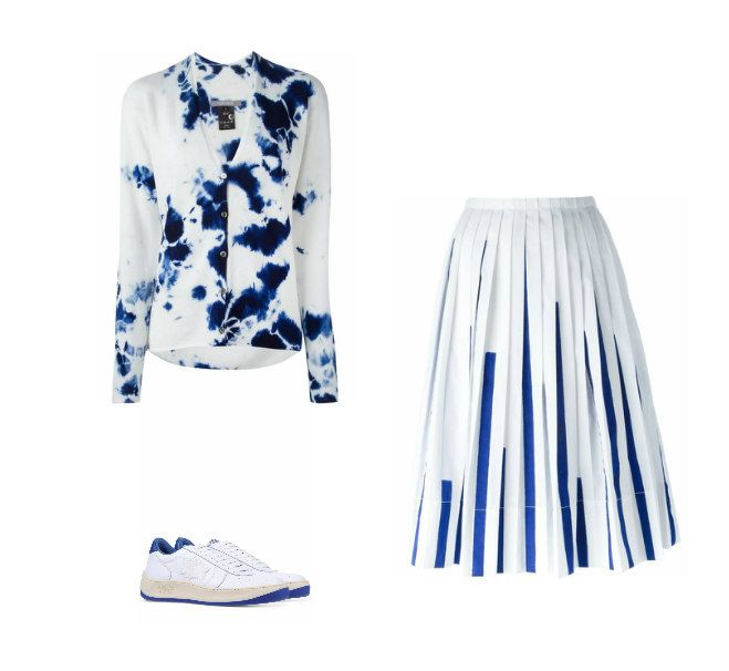 Casual Monday: Suzusan cardigan, IO Ivana Omazic pleated skirt, Atlantic Stars sneakers