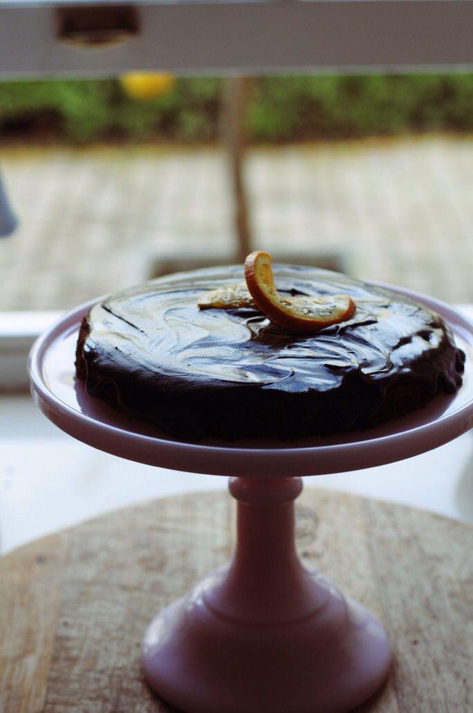 Dense chocolate cake with ganache.