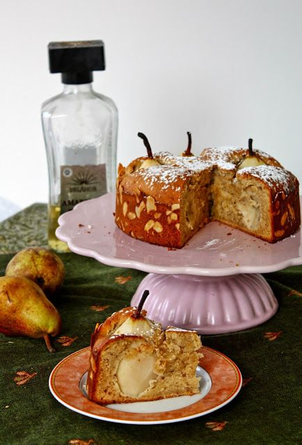 Cinnamon and Coriander:  Marzipan torte with Vanilla & White Whine poached Pears