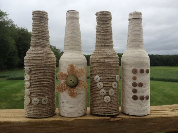 Hemp and Yarn Wrapped Glass Bottles by DecorbyLaraRachelle on Etsy, $15.00