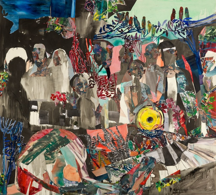 """Jennifer Meanly, The Wedding Party, Oil Monotype and Cut Paper Collage, 96"""" x 89"""", 2010"""