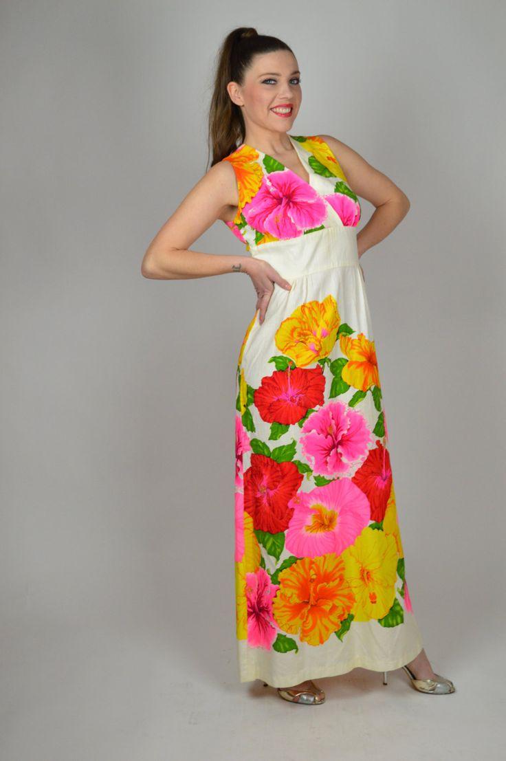 Hawaiian Dress, Boho Beach Dress, Maxi Dress, Kawaii Dress, Vintage 70's Dress, Beach Dress, Floral Print  Dress, Long Dress, Luau Dress by BuffaloGalVintage on Etsy