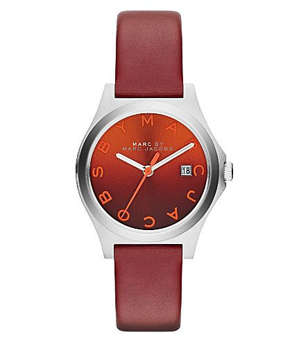 MARC BY MARC JACOBS MBM1322 The Slim stainless steel and leather watch (Red