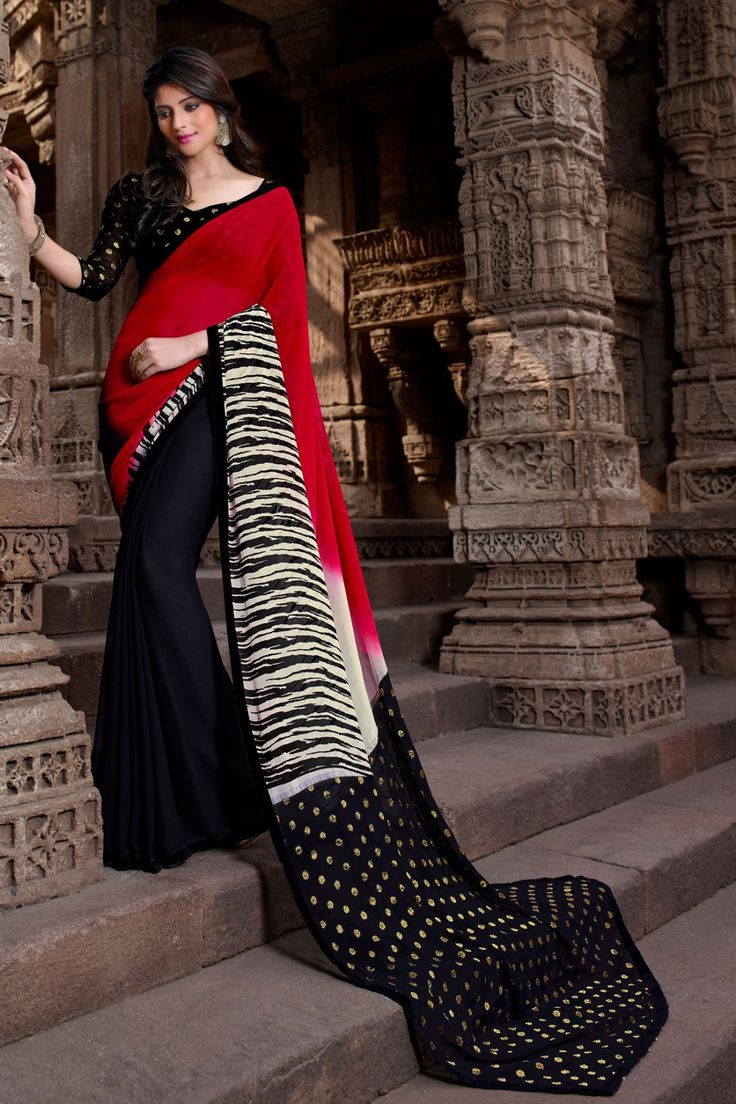 Maroon and Black Faux Georgette Saree Checkout our #latest #sarees @ http://zohraa.com/sarees.html #zohraa #onlineshop #womensfashion #womenswear #look #diva #party #shopping #collection #online #beautiful #love #beauty #glam #bollywood #shoppingonline  #styles #stylish #model #fashionista #pretty #women #luxury #celebrity  #lifestyle #best #fashion