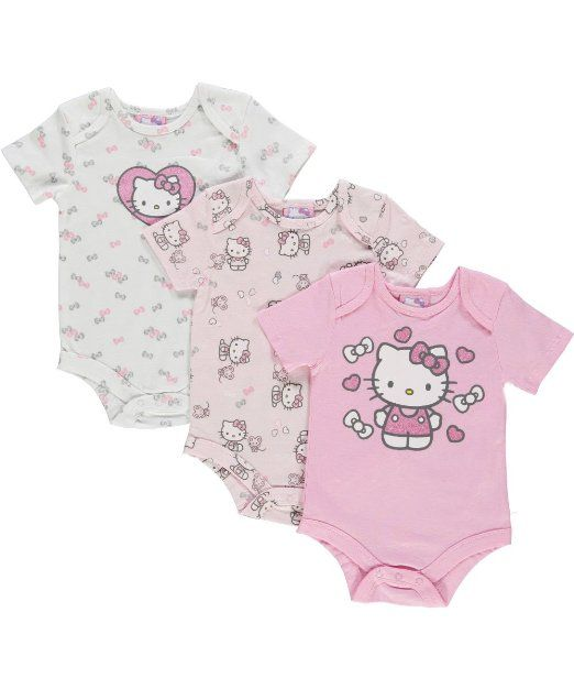 Amazon.com: Hello Kitty Baby Baby-Girls Newborn 3 Pack Creepers: Clothing