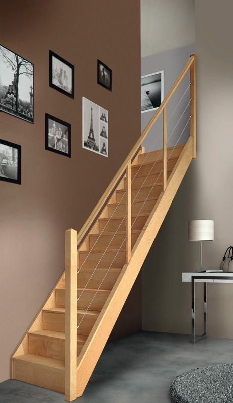 escalier droit en h tre avec rampe c bles menuiserie pinterest. Black Bedroom Furniture Sets. Home Design Ideas