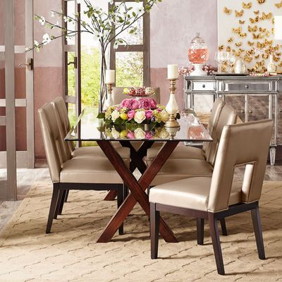 Bennett Mahogany Brown Dining Table Base. Glass Top ...