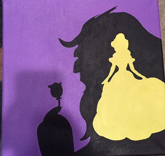 Painted canvas of beauty and the beast. Colors in purple yellow and black. Canvas size 12x12. All sales final.