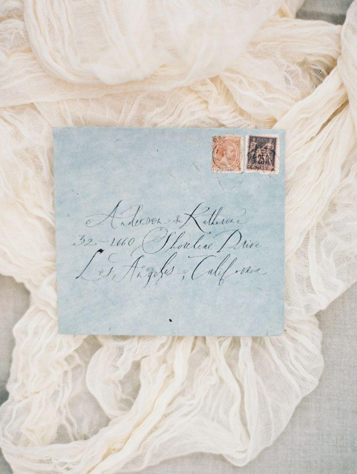 Elegant wedding invitation envelopes, addressed in calligraphy. #invites #papergoods