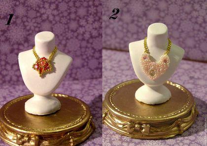 Купить Кукольная миниатюра Украшение (функциональное!) + бюст и пьедестал - комбинированный, украшение, колье, миниатюра