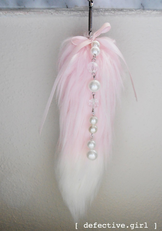 Peony fox tail plush keychain Kawaii light pink faux fur lolita fairy-kei accessory. $12.00, via Etsy. (Just bought this for my purse. So excited.)
