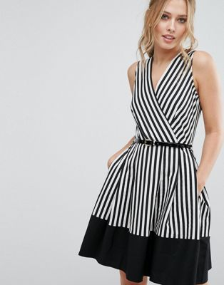 Closet Wrap Front Skater Dress in Stripe with Belt
