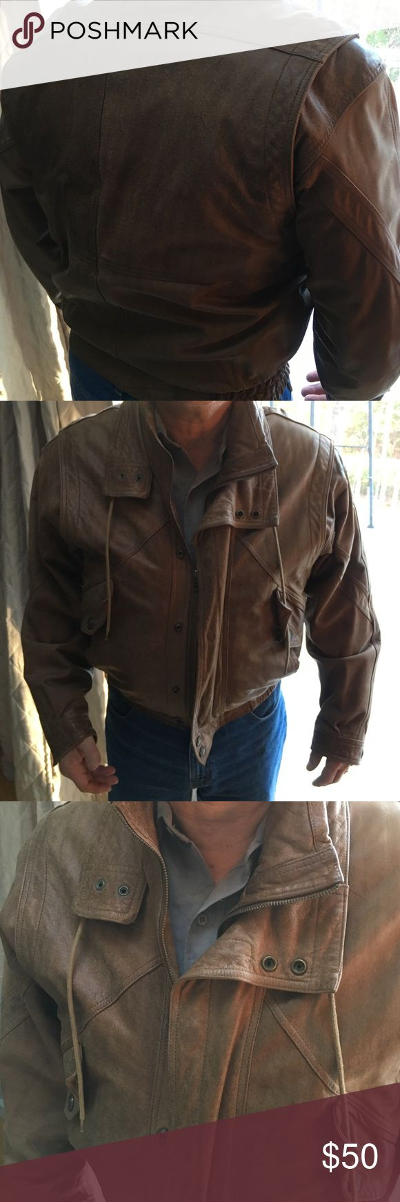 Vintage Men's leather jacket by Adventure Bounds Saddle brown soft Men's leather jacket.  Has zip in insulate lining. Jackets & Coats Pea Coats
