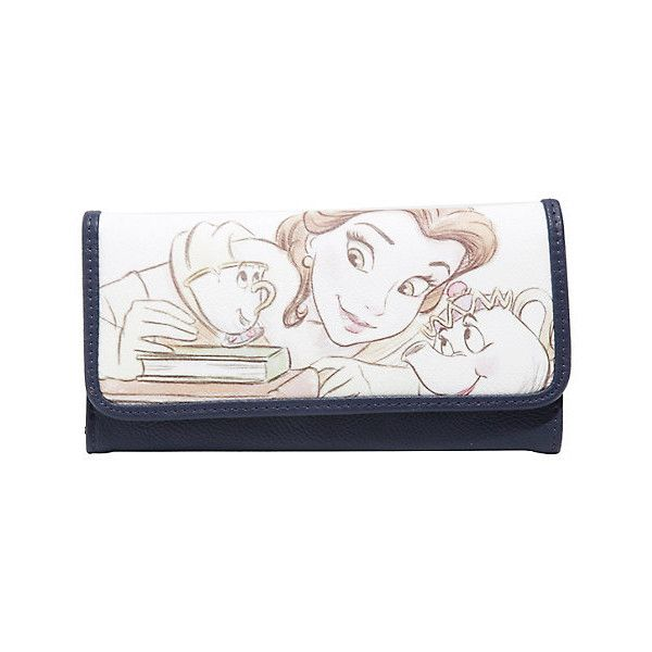 Loungefly Disney Beauty And The Beast Belle Mrs. Potts Chip Sketch... ❤ liked on Polyvore featuring bags, wallets, pu bag, white wallet, card slot wallet, bill fold wallet and white bag