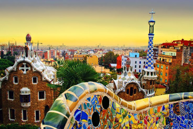 The Park Guell is a public park system composed of gardens and architectonic elements located on Carmel Hill in Barcelona.