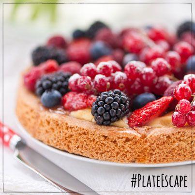 Berry Bliss Dessert with raspberries and blackberries sprinkled over a tasty cobbler!