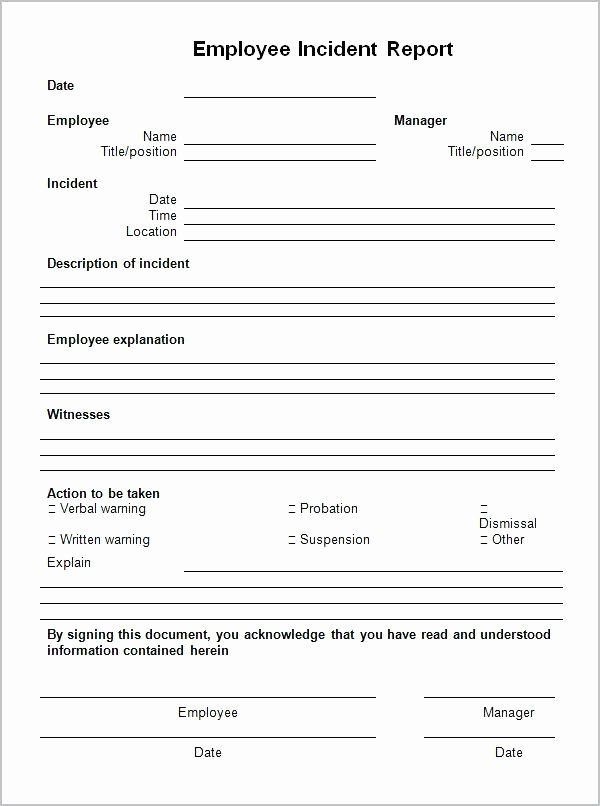 Blank Incident Report Form In 2020 Incident Report Form