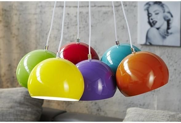 PERLES COLORÉ- pendant lamp 6 colourful ball shades ceiling light (Pendant light)