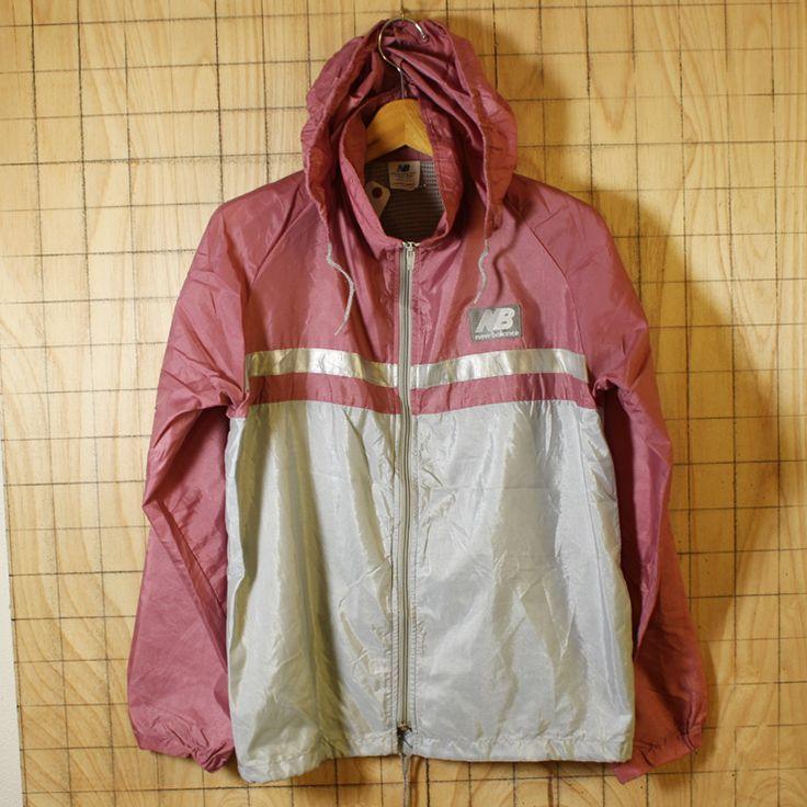 NEW BALANCE/USA製古着ピンク×グレージップアップナイロンパーカージャケット/レディースSサイズ