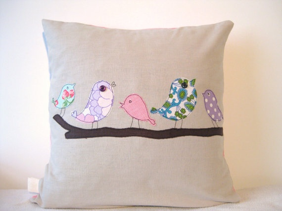 Cushion cover: five little vintage birds, by tailorbirds@etsy
