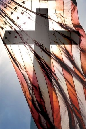 Old Glory Shadowed By the Cross