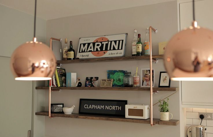 Three tier, medium shelving unit. 22mm copper pipe and reclaimed wood