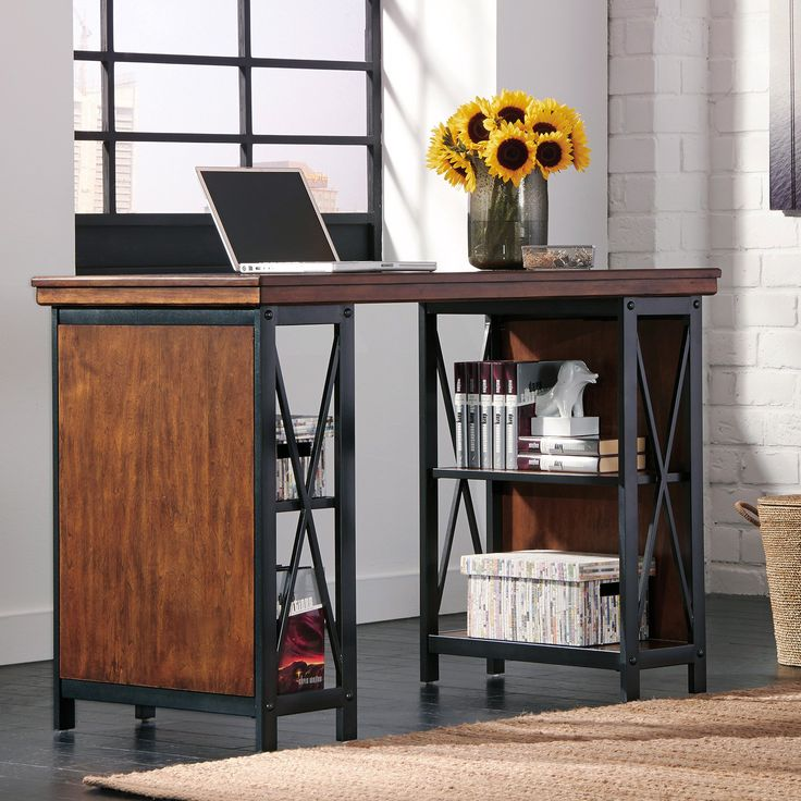 Signature Design by Ashley Shayneville Counter Large Desk - The Signature Design By Ashley Shayneville Counter Large Desk combines vintage wood paneling and tubular metal to create a distinctive look that blend...